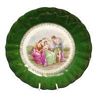 Antique French Terre de Fer earthenware fully decorated plate and signed by Angelica Kaufmann - Decoration