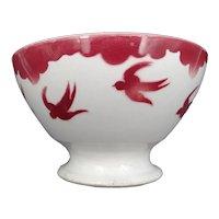 Vintage soup bowl - Earthenware - signature FB Badonviller (East of France) - Swallows pattern - circa 1940 - Art Deco