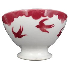 Vintage soup bowl - Earthenware - signature FB Badonviller (East of France) - Swallows pattern - circa 1940 - Art Deco