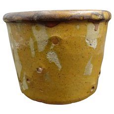 Lovely vintage glazed pottery cheese mold - Formerly used to drain then to dry cheeses Pink clay and brown-yellow glazes - French Folk Art