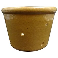 Lovely vintage glazed pottery cheese mold - Formerly used to drain then to dry cheeses - brown-yellow glaze - French Folk Art
