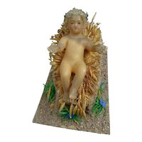 Early 20th century religious object - Wax baby Jesus - Wax Christ Child's crib - Nativity scene - Collectible - Done by religious sister