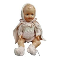 French 1930-1940 baby doll - Celluloid - With its knitted clothes - Eagle head in the neck - Petitcollin -  Collectible