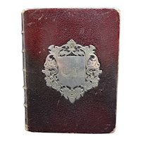 Antique 1881 French parishioner religious book - Prayer book for the everyday life - Christian book - Leather and silver monogram