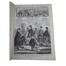 "Antique French book containing a full year of the fashion newspaper : ""La Mode Illustrée"" - 1872 - Clothes - Jewels - Children - Dolls -"