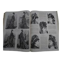 """Antique French book containing a full year of the fashion newspaper : """"La Mode Illustrée"""" - 1875 - Clothes - Jewels - Children - Dolls -"""