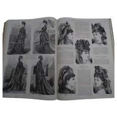 "Antique French book containing a full year of the fashion newspaper : ""La Mode Illustrée"" - 1875 - Clothes - Jewels - Children - Dolls -"