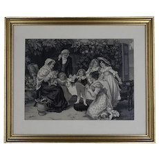 Vintage woven painting in black and white : poetry recitation - circa 1930 coming from Lyon - Soyeux