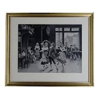 "Vintage woven silk tableau waltzing dancers in traditional costumes - from Lyon ""Soyeux lyonnais"" - circa 1930"