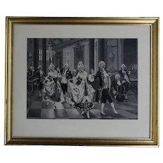 "Vintage woven silk tableau 18th century dancers - from Lyon ""Soyeux lyonnais"" - circa 1930"