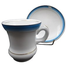 Antique porcelain cup and saucer, thick bottom, circa 1880