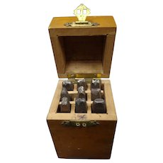 Punch set in a wooden box - small size - vintage tool circa 1900