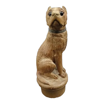 Lovely Swiss - Brienz cap, wooden sculpture of a mastiff dog circa 1900