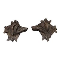 Lovely pair of wooden carved dogs Folk Art woodwork circa 1880 - naive sculptures