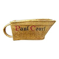 Vintage wicker bottle holder or bottle basket, wine house Paul Court, Burgundy area