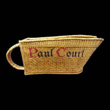 Vintage wicker bottle holder or bottle basket, wine house Paul Court, Burgundy area