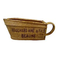 Vintage wicker bottle holder or bottle basket, wine house BOUCHARD AINE & FILS, Burgundy area Beaune