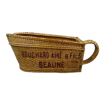Vintage wicker bottle holder or bottle basket, wine house BOUCHARD AINE & FILS, Burgundy area Beaune