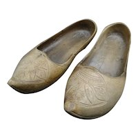 Antique French wooden clogs - Flower engraving- Folk Art - circa 1880