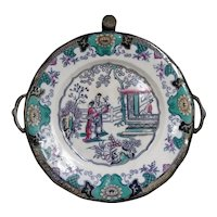 Antique invalid or baby faience warming plate - pewter and chinese decor