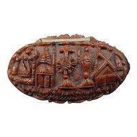Antique snuffbox made corozo nut religious pattern - restored