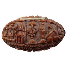 Antique snuffbox made corozo nut religious pattern - restored