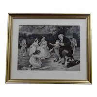 "Vintage woven silk tableau children playing with their grandfather - from Lyon ""Soyeux lyonnais"" - circa 1930"