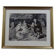 "Vintage woven silk tableau children playing with their grandfather - from Lyon ""Soyeux lyonnais"" - circa 1930"