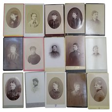 15 Cabinet Cards-  Early Photos - Original Photographs - Only Women portraits- 1880-1890-1900 - Black and white -French pictures - Old garbs