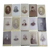 15 Cabinet Cards- Early Photos - Original Photographs - Only men portraits- 1880-1890-1900 - Black and white -French pictures - Old garbs