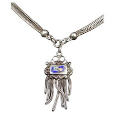 Antique silver enamel necklace - Circa 1880-1890 - Crab silver mark