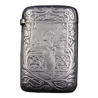 Lovely 1900 silver match box with a Belle Epoque lady portrait and a monogram MA