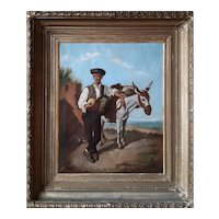 """Men with Donkey"" by MANUEL CABRAL BEJARANO (Spanish Artist) (1818-1891) Oil on Canvas ,"