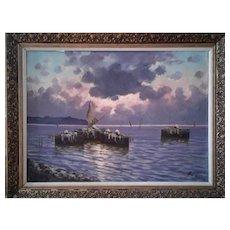 Coastal Sunset by Luigi De Luca Italian Impressionist  20th century