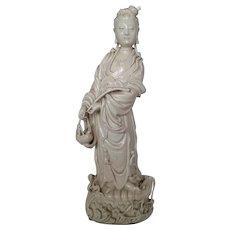 Chinese Guanyin Large Porcelain Figurine ,ca 1800