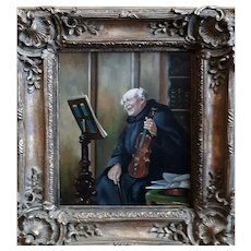 """""""Monk Violinist"""" By Max Scholz (German 1855-1906) Oil on Canvas,"""