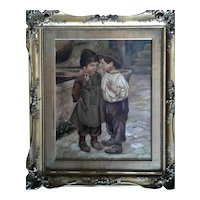"""Friends"" Original Oil Painting Signed ""Perry"" Dated 1903"