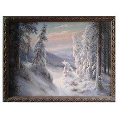 Winter in Forest by JOSEF KOSEJK (1910-1988 Czech)