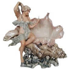 Royal Dux  Figural Porcelain Vase Circa 1920 Beach Shell Ocean Design