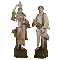 Pair of Austrian Turn Wien Porcelain Figures 19th Century