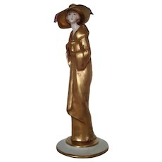 "Giuseppe Cappe Capodimonte Porcelain Unusual Figurine"" Lady in Gold Dress "" , ca 1972"