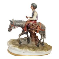 "Capodimonte Figurine by Dino Bonalberti ""Boy with Donkey"", ca 1970"