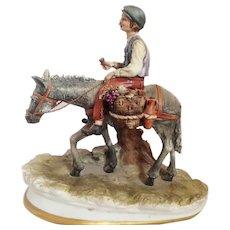 "Capodimonte Figurine by Dino Bonalberti ""Boy with Donkey"", ca 1970"