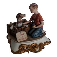 "Capodimonte Figurine by Volta ""Boy with Puppy"", ca 1970"