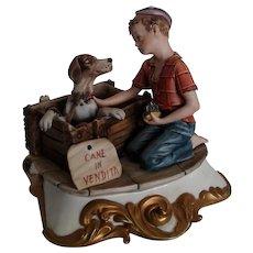"Capodimonte Figurine by Volta ""Boy with Puppy"", ca 1970"