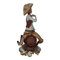 "Capodimonte By Giuseppe Cappe Figurine  ""Drunken Cowboy"", ca 1950"
