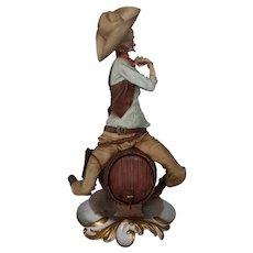 "Capodimonte By Giuseppe Cappe Figurine  ""Drunken Cowboy"", ca 1950"