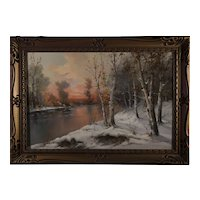 Birches in Winter by Cardi Oil Painting , 20th Century