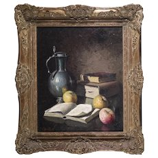 Naturmort of Apples, Vase and Books by Jean Cordain French Artist Oil Painting in Carved Wood Frame ,  20th Century