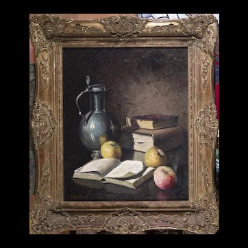 Original Jean Cordain Still Life Oil Painting in Carved Wood Frame French Artist,  20th Century